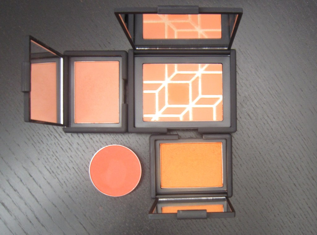 Clockwise from top right: NARS Rotonde, NARS Taj Mahal, MAC Devil (PRO), NARS Gina