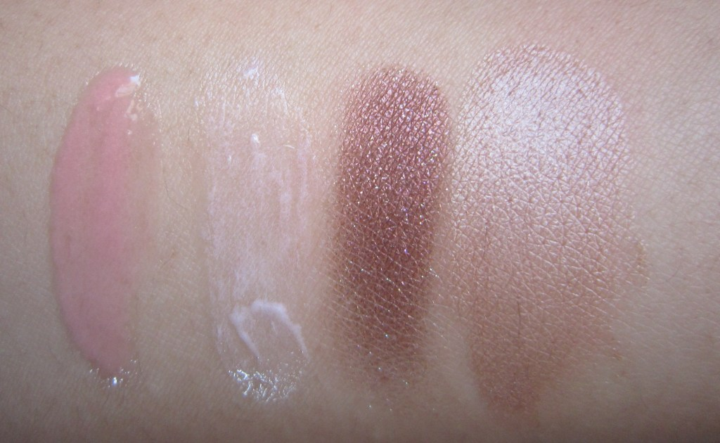 L-R: Clarins Instant Light Natural Lip Perfector 01 Rose Shimmer, Fusion Beauty Illumifill Line Filling Luminizer with AMPLIFAT, Chanel Illusion D'ombre in Ebloui and Mac Cream Colour Base in Fawntastic