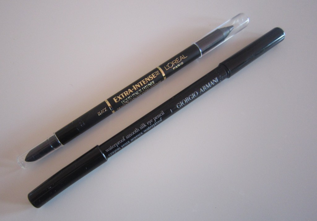 Giorgio Armani Waterproof Smooth Silk Eye Pencil and L'Oreal Extra-Intense Liquid Pencil Eyeliner