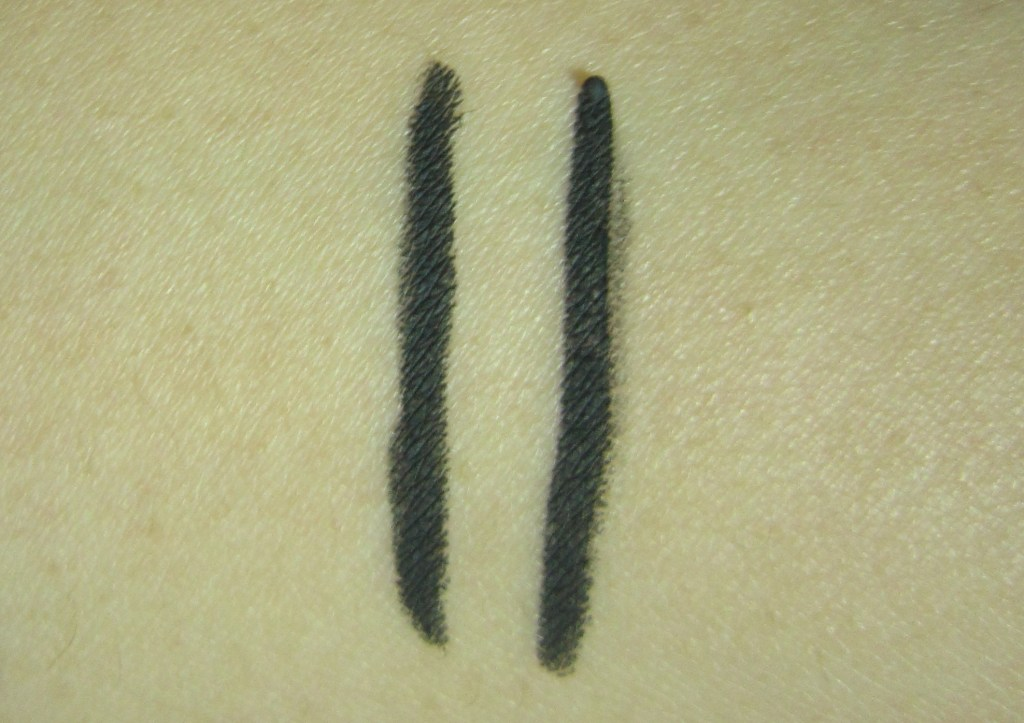 Giorgio Armani Waterproof Smooth Silk Eye Pencil and L'Oreal Extra-Intense Liquid Pencil Eyeliner swatch